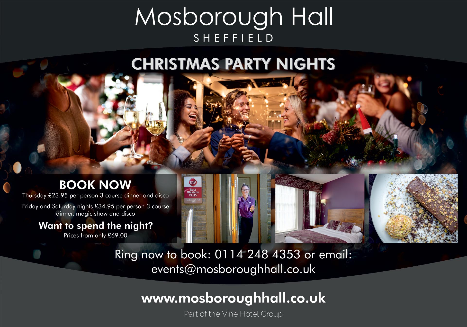 Derbyshire Life Half Page September Christmas Party Nights at Mosborough Hall