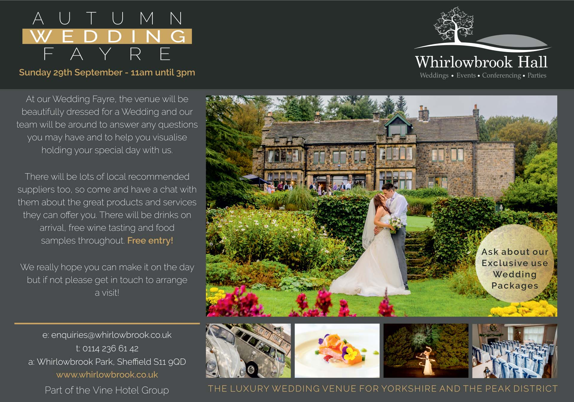 Luxury Party venues for Yorkshire and The Peak District Whirlowbrook Hall