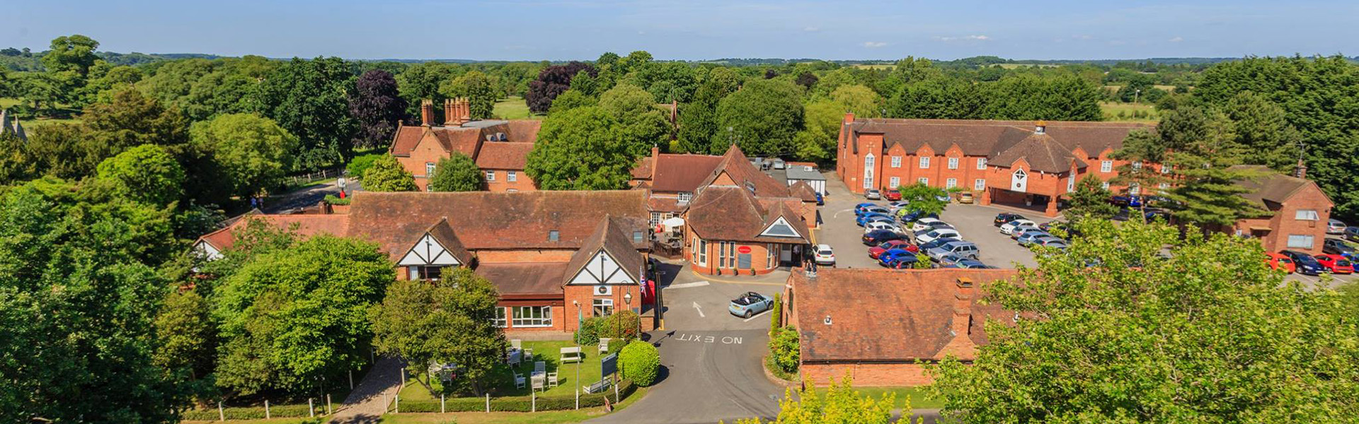 The Charlecote Pheasant Hotel from the air